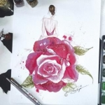 Atelier aquarelle mode: Rose du bal